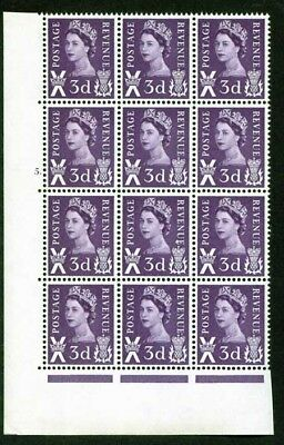 Scotland XS2a 3d Cyl 5 dot Block of 12 Inc Dot After E