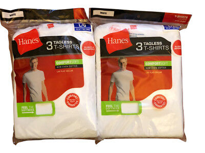 6 pack hanes mens white t shirt sizes choose your size