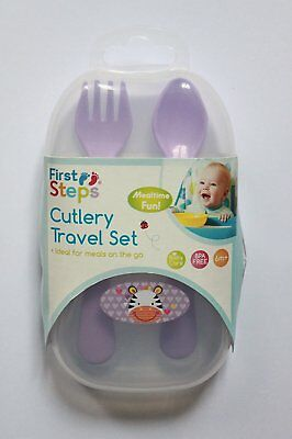 Baby Kids Children Jungle Pals Travel Cutlery Set Fork And Spoon In Travel Case