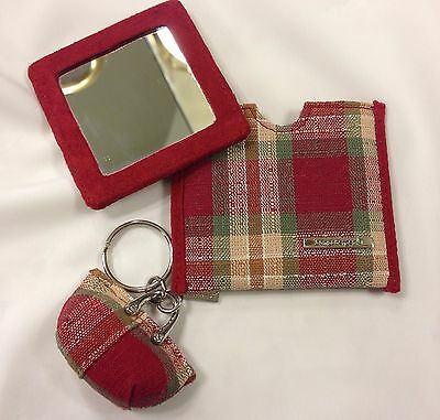 Longaberger Homestead Red & Tan Plaid Key Chain & Mirror in Case, New