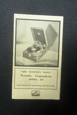 Photostat Copy Of Hmv Operating Instructions For Portable Gramophone Model 102