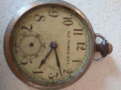 Antique Swiss big wristwatch Moser & Cie Henry Moser rare watch old