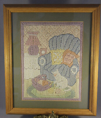 """Framed & Glazed Pastel Coloured  Woolwork Cat On Rug Picture 12"""" x 10"""""""