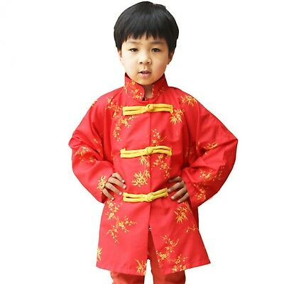 Chinese Traditional long sleeves Tang Suit Costume - Red for Halloween Holiday