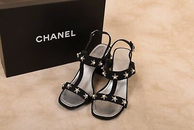 335b9701ecf6 AUTHENTIC CHANEL BLACK Canvas Star Pearl Sandals Mules Size 37 ...