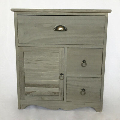 Bedside Console, Night Table, Grey Bedroom Commode, Wood Box Cabinet