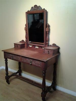 Victorian aesthetic movement carved oak chest dressing table