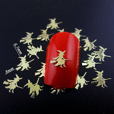 20 x Gold Witches for 3D Nail Art Decoration, Halloween Nail Art Stickers Charms