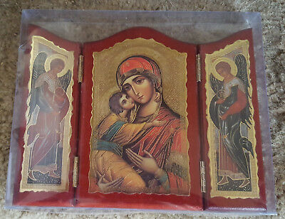 Our Lady of Perpetual Help + Archangels Gold  Foil Tryptic Made in Italy