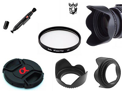 NK33 40.5mm Lens Hood α Cap UV Pen Filter Bundle For Sony Alpha Series Camera