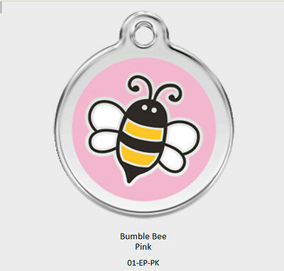 Pink Bumble Bee Red Dingo Dog Tag Small, Med, Large. FREE ENGRAVING