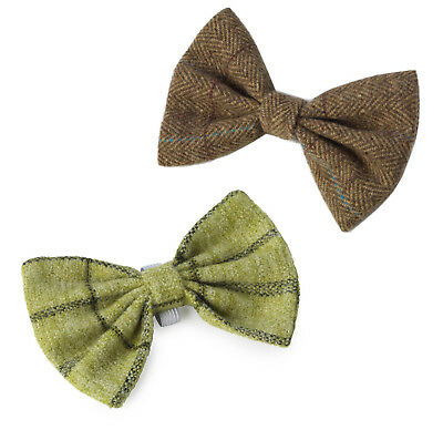 Brown OR Green Tweed Puppy Puppy Dog Slide On Dicky Bow Tie