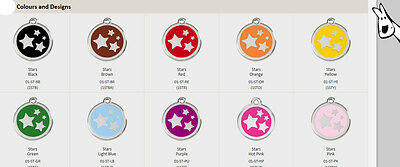 Enamel Stars - all colours - Red Dingo Dog Tag Small, Med, Large. FREE ENGRAVING