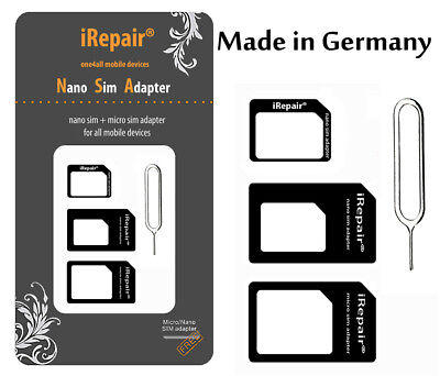 SIM KARTEN ADAPTER HANDY NANO MICRO KARTENADAPTER Made in Germany PASST FÜR ALLE