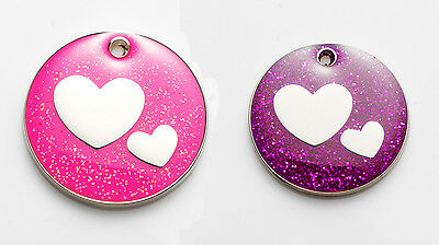 Glitter Purple Red Hearts Puppy Dog/Cat I.D Tag - FREE ENGRAVING