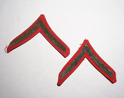 Private PFC Chevrons WWII US Marine Corps Pair Red Woven Rank Patches P4807