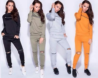 Womens Long Sleeve Chest Knee Zip Cut Out Tracksuit Lounge Wear Set Trouser 8-14