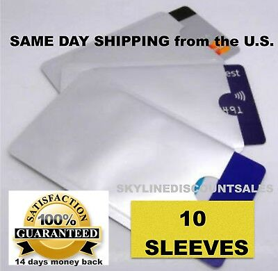 10 PACK HIGH LEVEL RFID Blocking Credit Card Sleeve Theft Protector Chip Shield