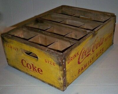 "Vtg Yellow Coca-Cola Wood Crate; Family Size; Dividers 12 Slots; 6"" Deep"