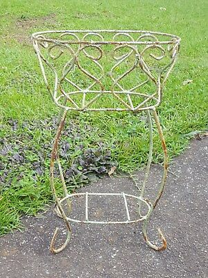 "Rustic Primitive Shabby Iron Oblong Garden Porch Planter Plant Stand 21.5"" Tall"