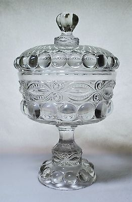 L. G. Wright EYEWINKER Genoese Large Crystal / Clear COVERED COMPOTE Candy Box
