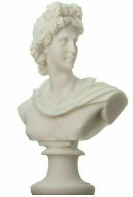 """Apollo God Of Music Poetry Art Alabaster Stone Bust Head Statue Sculpture 5.9"""""""