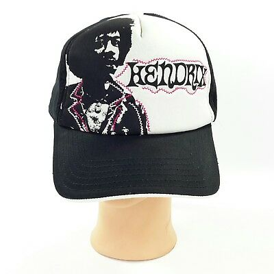 Official Jimi Hendrix Baseball Hat 2007 Black White Foam Adjustable Strap