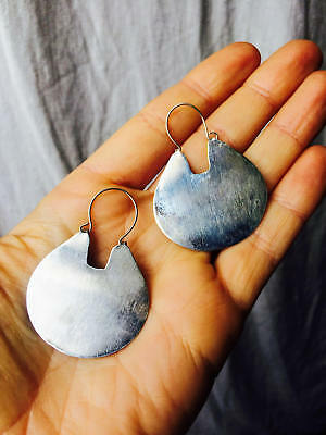 Large Mapuche Silver Earrings. Chile. Fine Silver .950