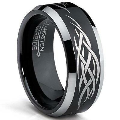 Metal Masters Co.® 8MM Black Men's Tungsten Ring with Laser Etched Tribal...