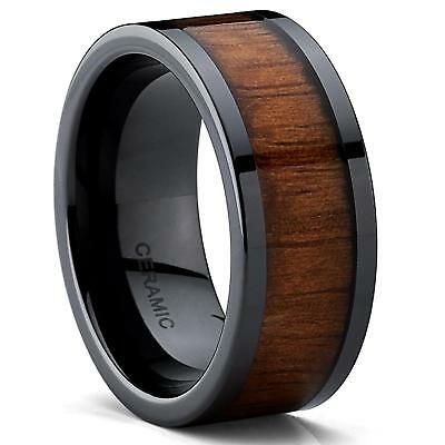 Metal Masters Co.® Black Ceramic Flat Top Wedding Band With Ring with Koa...