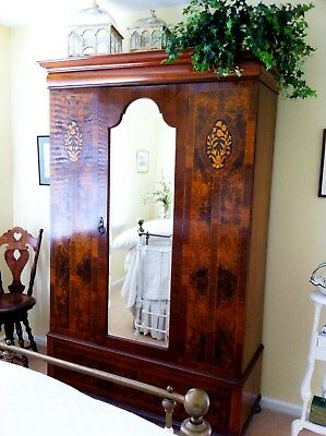 Antique English Armoire Circa 1870 Inlaid Walnut Finish - Great Condition