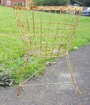 Rustic Primitive Shabby Wire Egg Laundry Basket on Hairpin Stand Legs Planter Lg