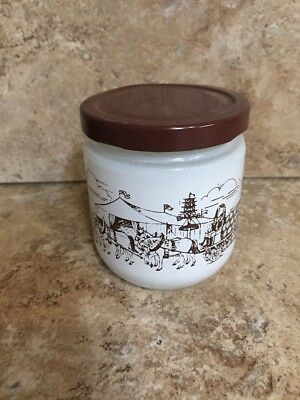 Vintage Glass Jar White With Brown October fest Parade Scene Mustard Jar (190)
