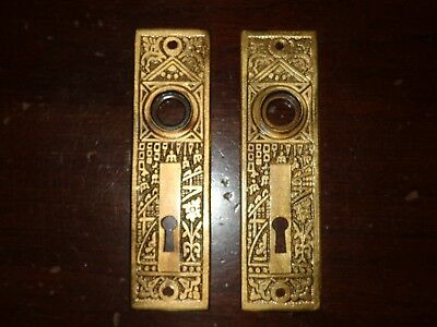 Beautiful Pair Corbin Eastlake Ceylon Brass Backplates - Circa 1895 (8857-1)