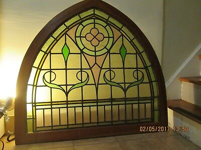 Sweet Antique Stained glass arch Transom framed in cherry wood. Cherry frame new
