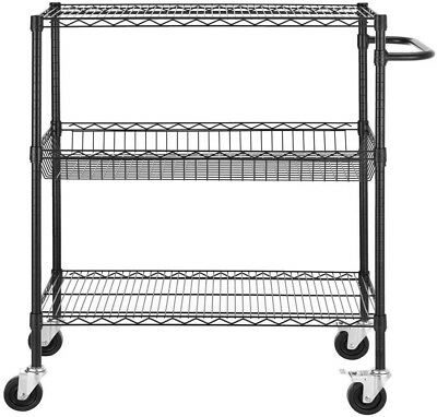 Shelf Utility Tool Chest 3-Shelves Rolling Cart Wire Commercial Garage Storage