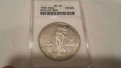 Philippines 1903 (P) Peso ANACS AU 50 scarce in higher grades low pcgs pop.
