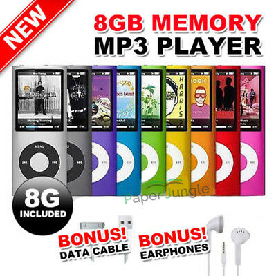 iPod Style MP3 MP4 Music FM Radio Player 8GB with Earphone & Cable