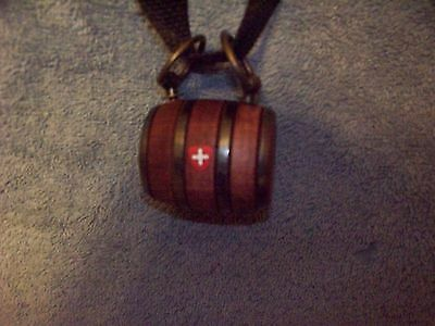 Puppy St. Bernard Wooden Barrel Keg With A Black Strap And A  Swiss Cross