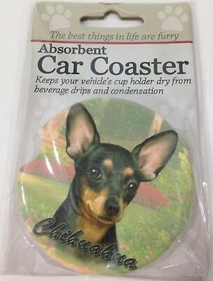 Chihuahua Dog Absorbent Car Coaster Dry Cup Holder Puppy Animal New (B079)