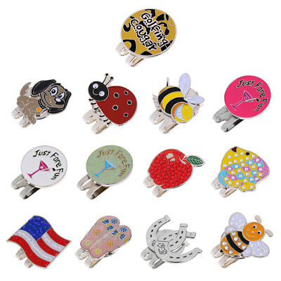 Alloy Hat Clip with Magnetic Removable Golf Ball Marker Different Patterns