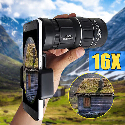 16x52 Zoom Hiking Concert Camera Lens Monocular Telescope + Cell Phone Clip AU