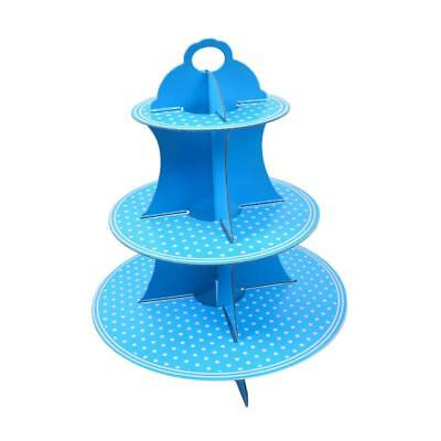 3 Tier Disposable Mini Cakes Canape Cupcake Stand fpr Wedding Christmas Blue