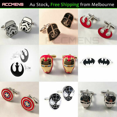 Superhero Cufflinks Star Wars Spiderman Batman Ironman Captain America Marvel