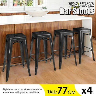 4xReplica Tolix Bar Stool Metal Steel Kitchen Cafe Gloss Home Office Chair Black
