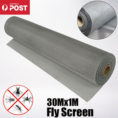30Mx1M ROLL INSECT FLYWIRE WINDOW FLY SCREEN NET MESH FLYSCREEN Grey AU SHIP