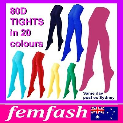 80D COLORED PANTYHOSE TIGHTS - black blue green hot pink orange red white yellow