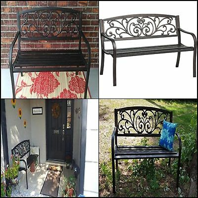 Cast Iron Outdoor Patio Porch Garden Bench  Rustic Vintage Work Seat With Flower
