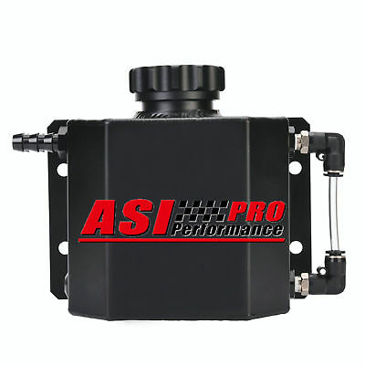 Universal 1L Aluminum Coolant Radiator Overflow Recovery Water Tank Black AU PRO