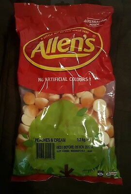 Allens Peaches & Cream 1.3kg Bag Sweets Buffet Candy Lollies - free shipping